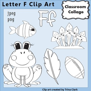 Alphabet Clip Art Letter F Line Drawings - Items start w F B&W pers/comm