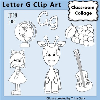 {Alphabet Clip Art Line Drawings} Items start w Letter G {B&W} pers/comm