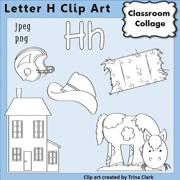 {Alphabet Clip Art Line Drawings} Items start w Letter H {B&W} pers/comm