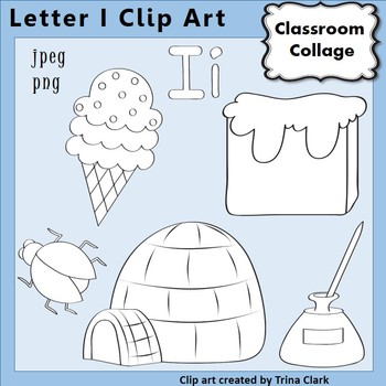 {Alphabet Clip Art Line Drawings} Items start w Letter I {B&W} pers/comm