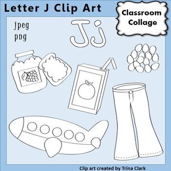 Alphabet Clip Art Letter J Line Drawings - Items start wit