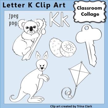{Alphabet Clip Art Line Drawings} Items start w Letter K {B&W} pers/comm