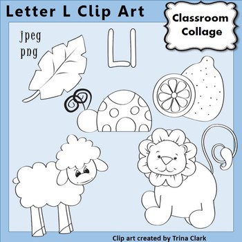 {Alphabet Clip Art Line Drawings} Items start w Letter L {B&W} pers/comm