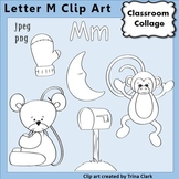 {Alphabet Clip Art Line Drawings} Items start w Letter M {B&W} pers/comm