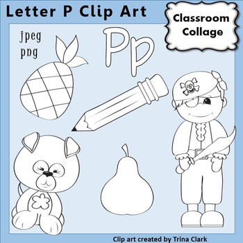 {Alphabet Clip Art Line Drawings} Items start w Letter P {B&W} pers/comm