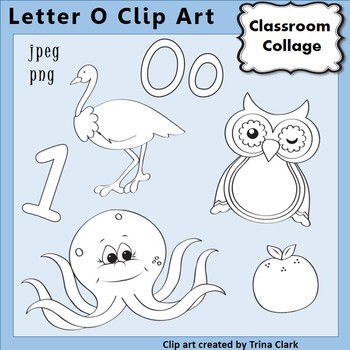 {Alphabet Clip Art Line Drawings} Items start w Letter O {