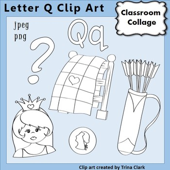 {Alphabet Clip Art Line Drawings} Items start w Letter Q {B&W} pers/comm