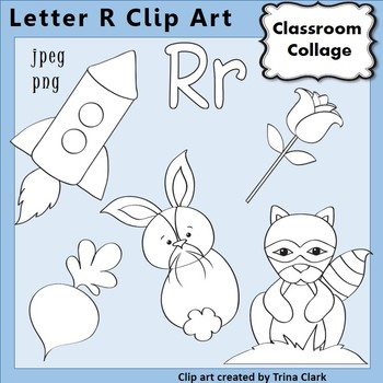 {Alphabet Clip Art Line Drawings} Items start w Letter R {B&W} pers/comm