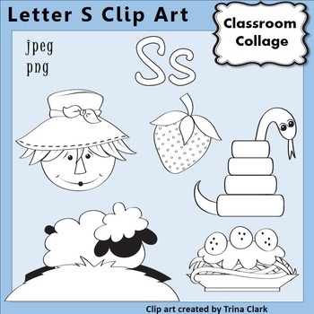 {Alphabet Clip Art Line Drawings} Items start w Letter S {B&W} pers/comm