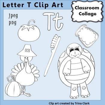 {Alphabet Clip Art Line Drawings} Items start w Letter T {B&W} pers/comm