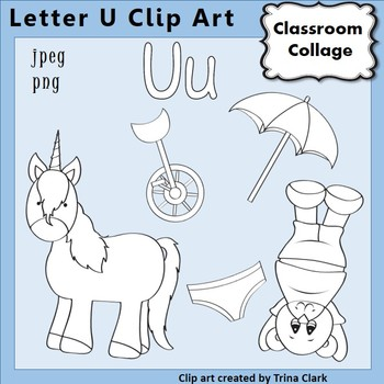 {Alphabet Clip Art Line Drawings} Items start w Letter U {B&W} pers/comm