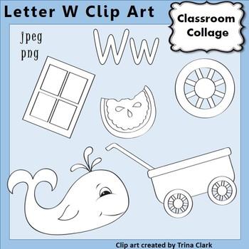 {Alphabet Clip Art Line Drawings} Items start w Letter W {B&W} pers/comm