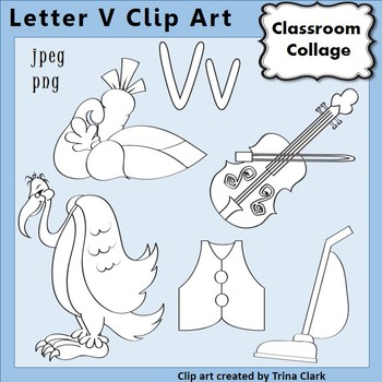 {Alphabet Clip Art Line Drawings} Items start w Letter V {B&W} pers/comm
