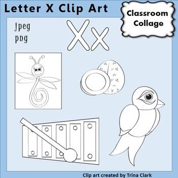 {Alphabet Clip Art Line Drawings} Items start w Letter X {