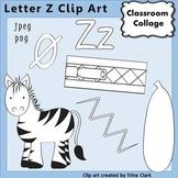 {Alphabet Clip Art Line Drawings} Items start w Letter Z {B&W} pers/comm
