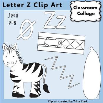 {Alphabet Clip Art Line Drawings} Items start w Letter Z {B&W} pers/comm
