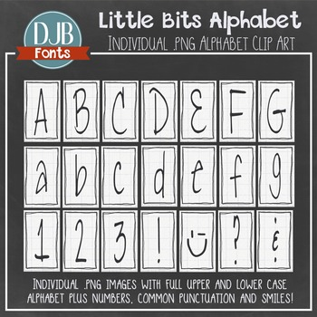 Alphabet Clip Art: Little Bits Label Alphabet Letters