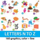 Alphabet Clipart Bundle N to Z, Alphabet Picture Clip Art