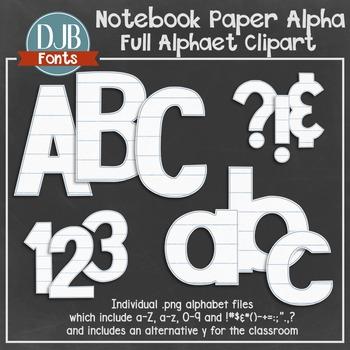 Alphabet Clip Art: Notebook Paper Alphabet Letters