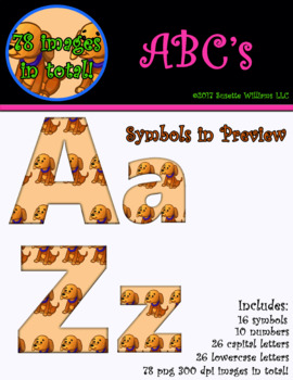 Alphabet Clip Art, Numbers, and Symbols: Dog Pattern