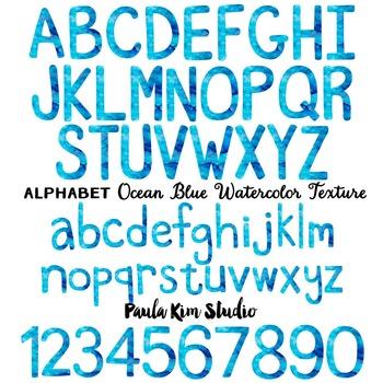 Alphabet Clip Art - Ocean Blue Watercolor