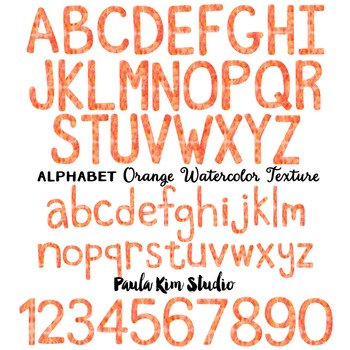 Alphabet Clip Art - Orange Watercolor
