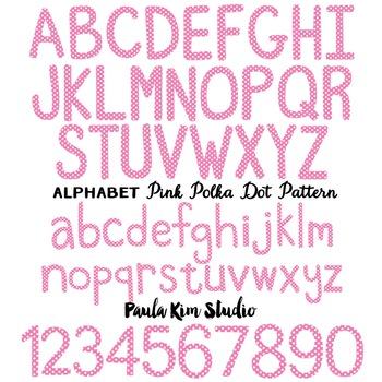 Alphabet Clip Art - Pink Polka Dots