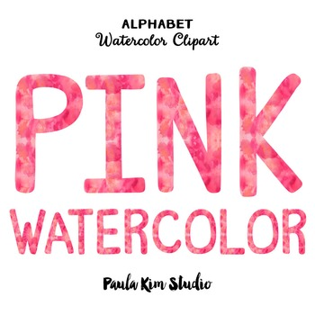 Alphabet Clip Art - Pink Watercolor