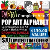 Alphabet Clip Art Pop Art Bundle - Creative coloring, lear