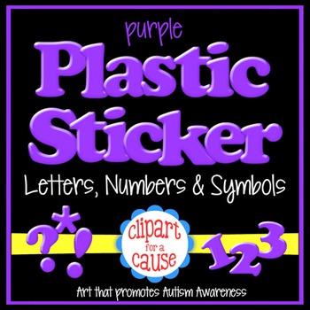 Alphabet Clip Art: Purple Plastic Sticker Letters Numbers & Symbols- 96 pc Set