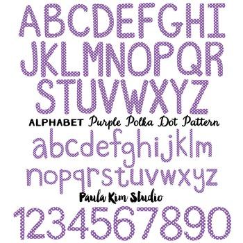 Alphabet Clip Art - Purple Polka Dots