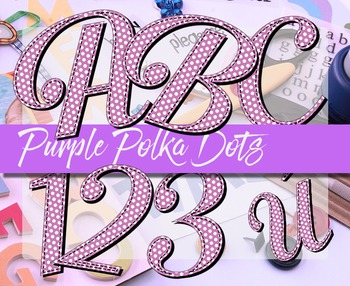 "Alphabet Clip Art Purple Polka Dots  /  97 pcs - 3.5"" High, Vector PDF and PNGs"