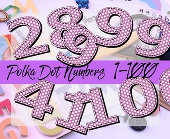 """Numbers 1-100 Clip Art Polka Dots  / 100 pcs - 3"""" High, Vector PDF and PNGs"""