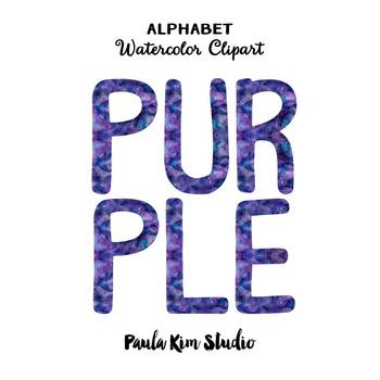 Alphabet Clip Art - Purple Watercolor