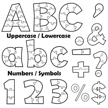 Alphabet Clip Art Puzzle Effect - Black and White