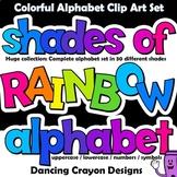 Alphabet Clip Art Letter Set   Rainbow Shades Lettering