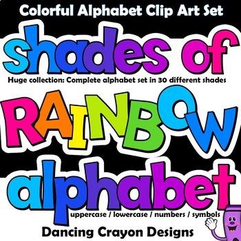 Alphabet Clip Art Letters - Rainbow Shades