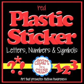 Alphabet Clip Art: Red Plastic Sticker Letters Numbers & Symbols- 96 pc Set