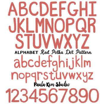 Alphabet Clip Art - Red Polka Dots