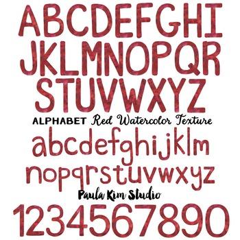 Alphabet Clip Art - Red Watercolor