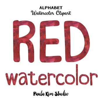 Alphabet Clip Art - Red Watercolor