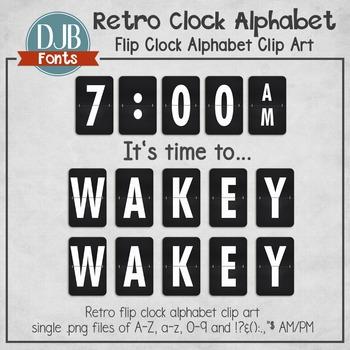 Alphabet Clip Art: Retro Flip Clock Alphabet Letters