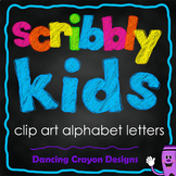 Alphabet Clip Art Letter Set | Scribble Style Letters and Numbers