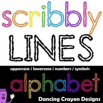 Alphabet Letters Clipart: Scribbly Lines Effect Alphabet Letters
