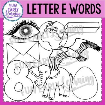 Alphabet Clip Art Set Letter E / Beginning Sounds - Phonics Clip Art Set