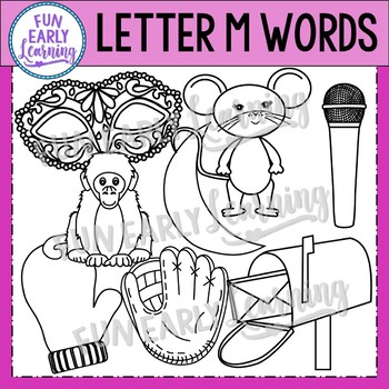 Alphabet Clip Art Set Letter M / Beginning Sounds - Phonics Clip Art Set