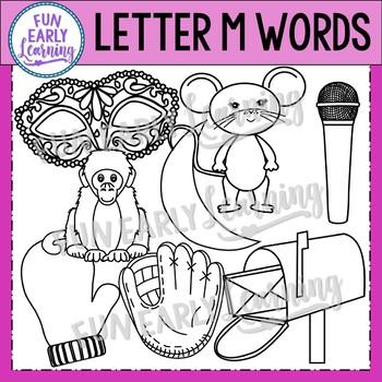 Alphabet Clip Art Set Letter M / Beginning Sounds - Phonics Clip Art Set