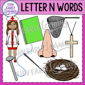 Alphabet Clip Art Set Letter N / Beginning Sounds - Phonics Clip Art Set