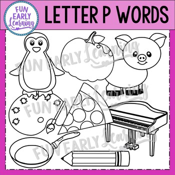 Alphabet Clip Art Set Letter P / Beginning Sounds - Phonics Clip Art Set