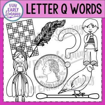 Alphabet Clip Art Set Letter Q / Beginning Sounds - Phonics Clip Art Set